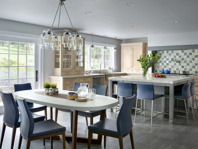 Seating for a Crowd in a Bright Family-Friendly Kitchen