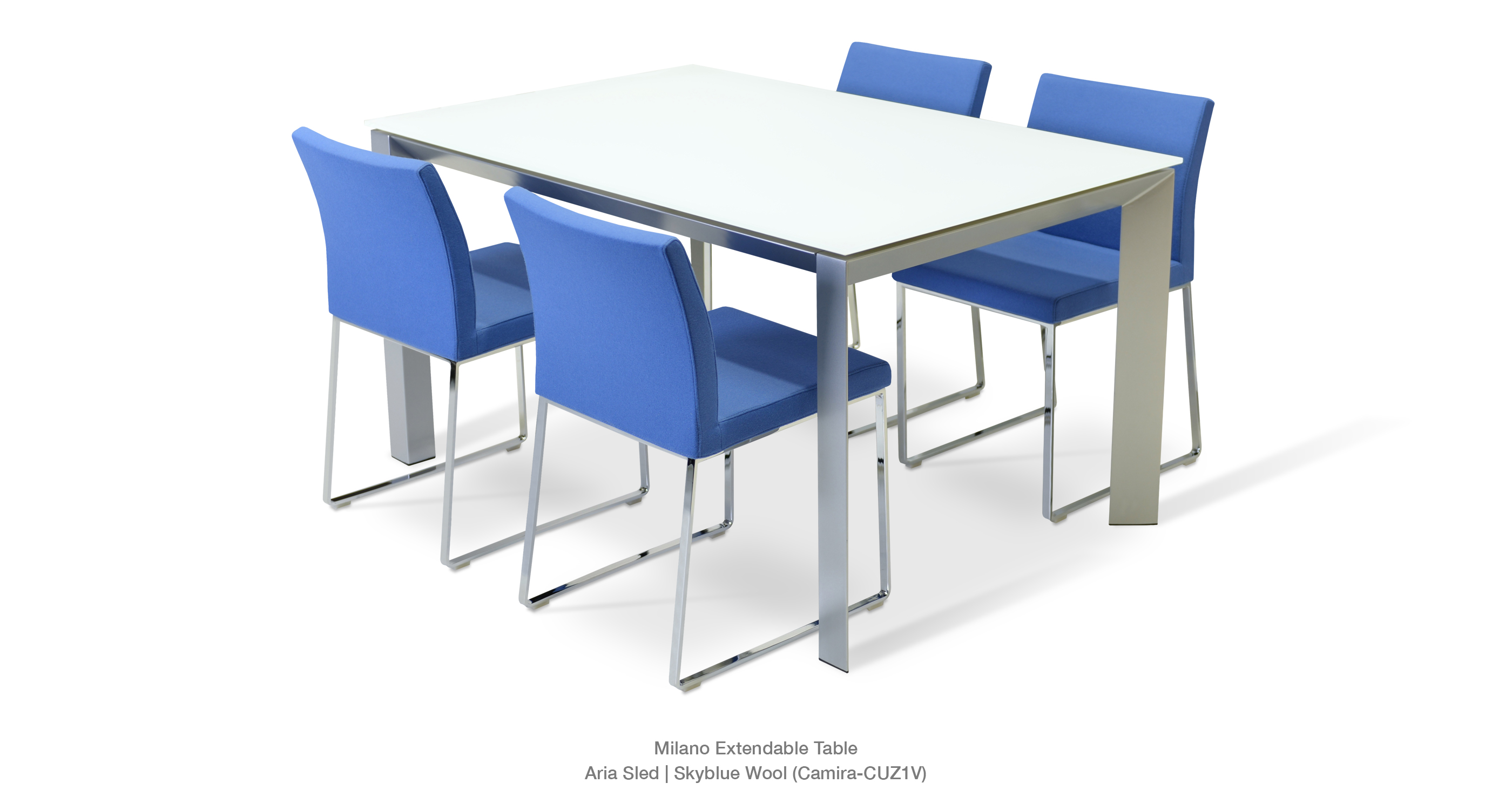 Aria Sled Skyblue and Milano Table