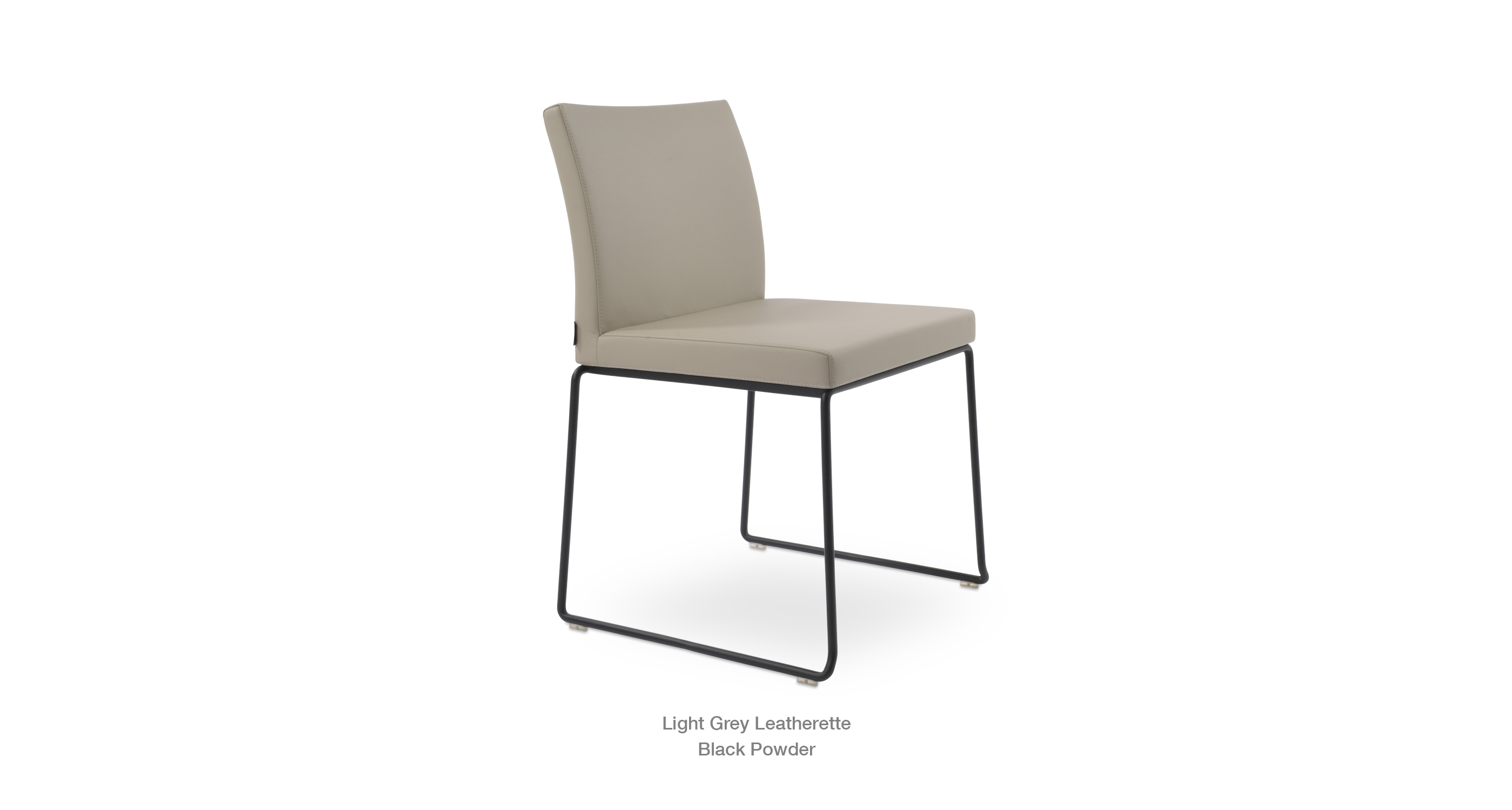 Aria Stackable Light Grey Leatherette Black