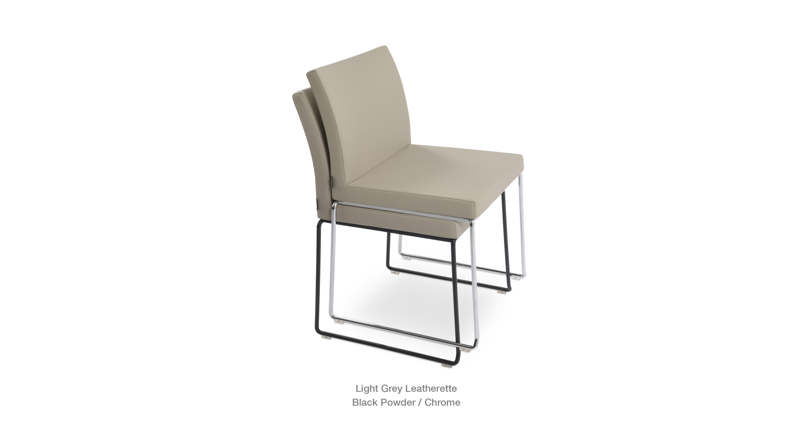 Aria Stackable Light Grey Leatherette Chrome Black