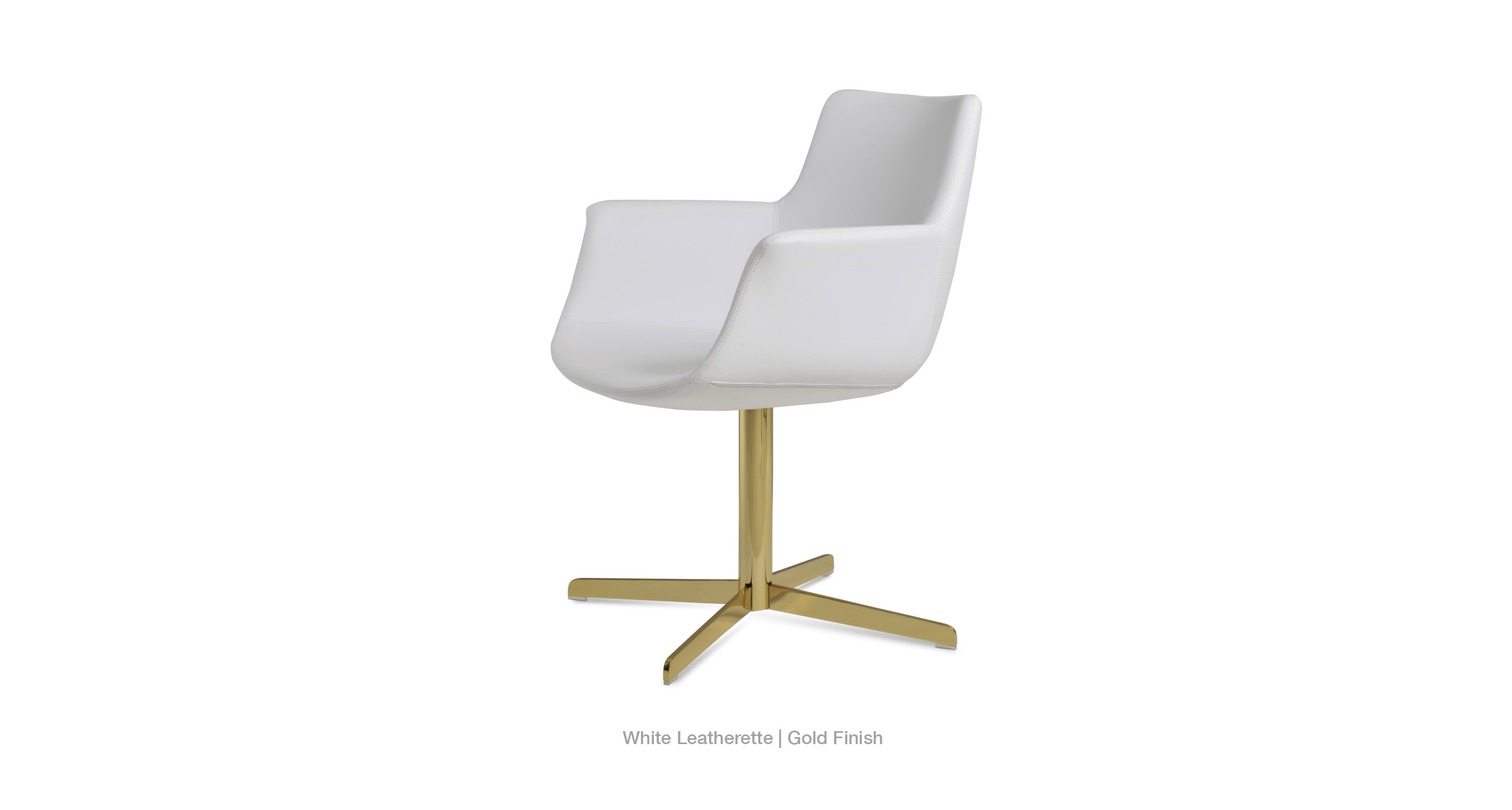 white leatherette - gold