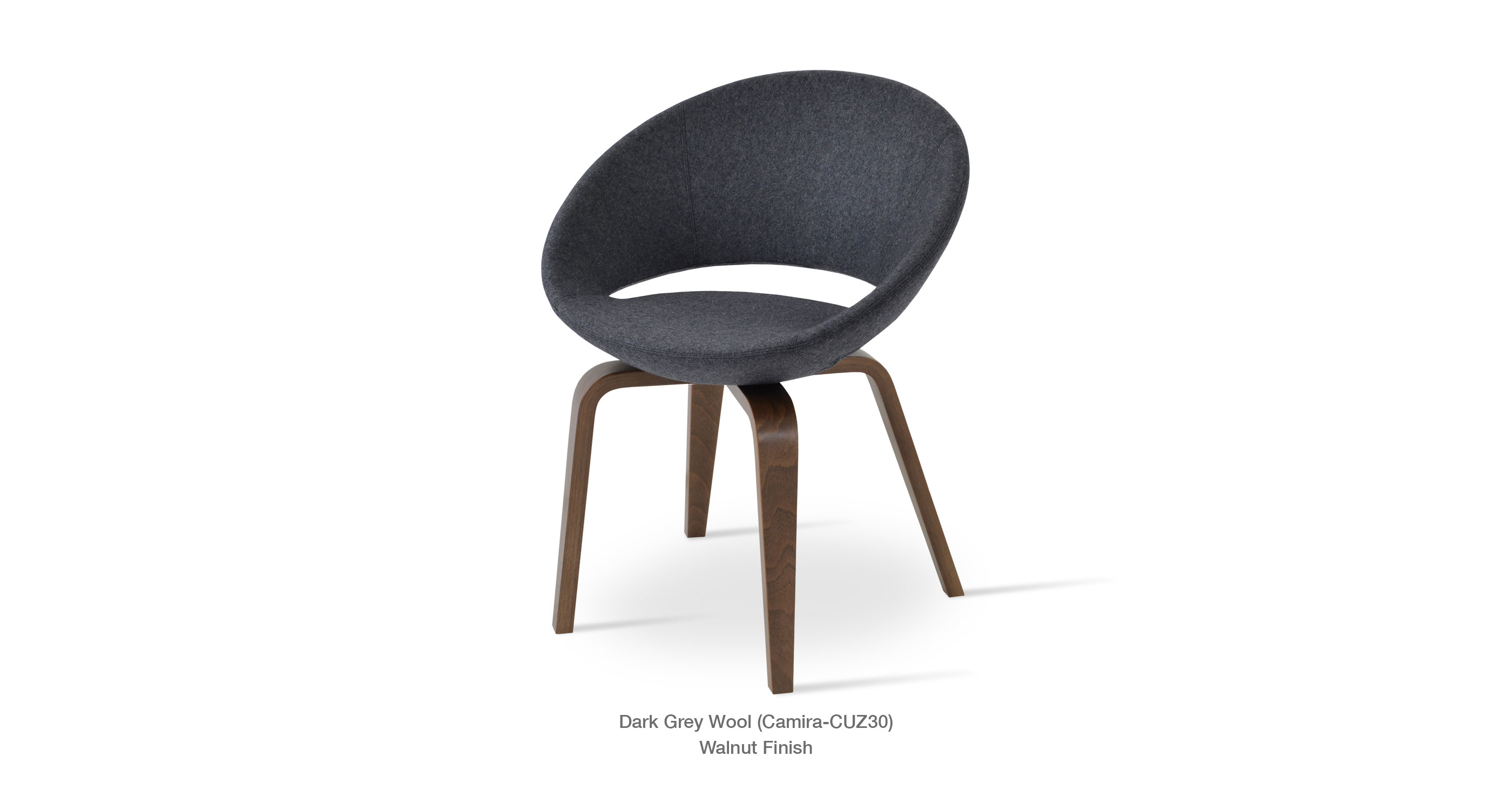 Crescent Plywood Dark Grey Wool
