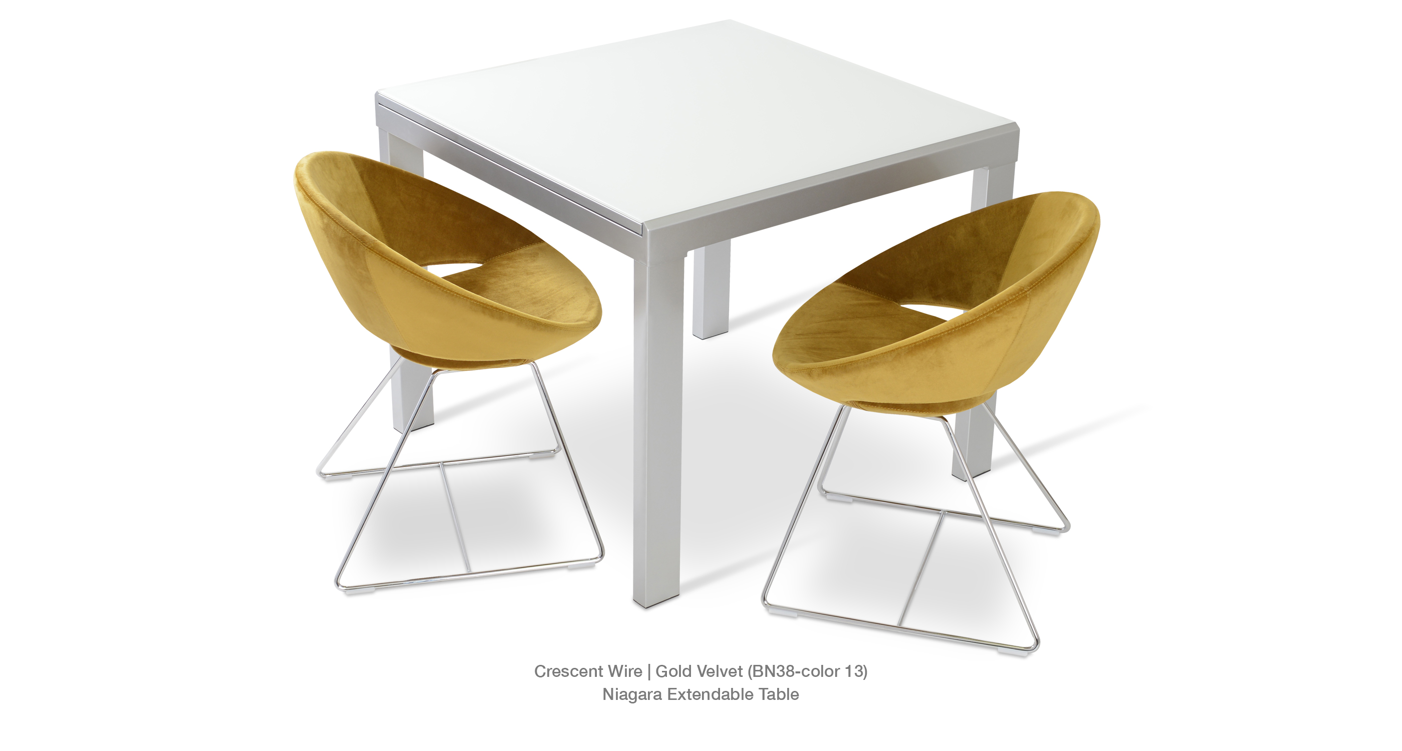 Crescent Wire Gold Velvet Niagara Table