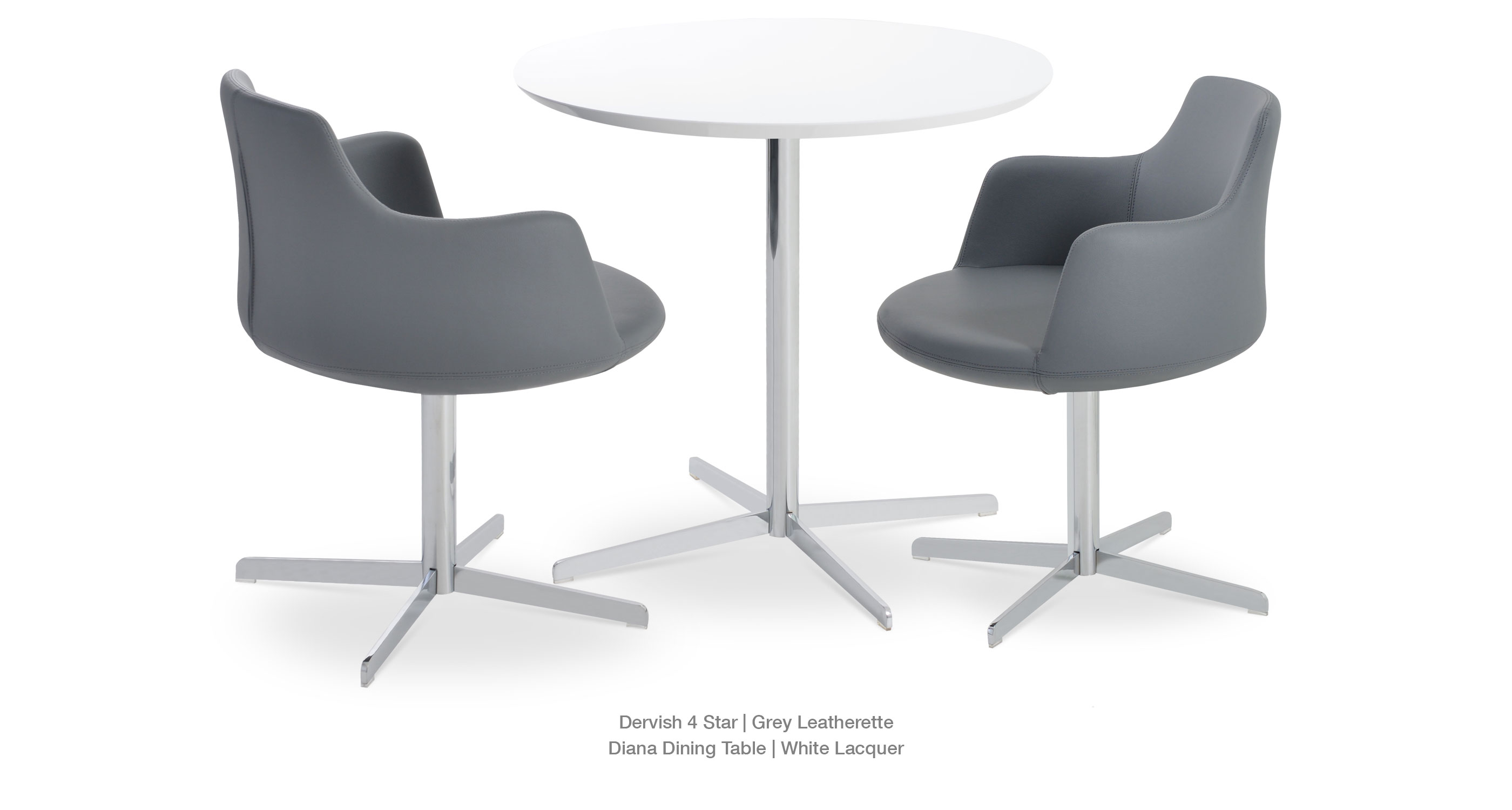 Dervish 4 Star Grey Leatherette Diana Table