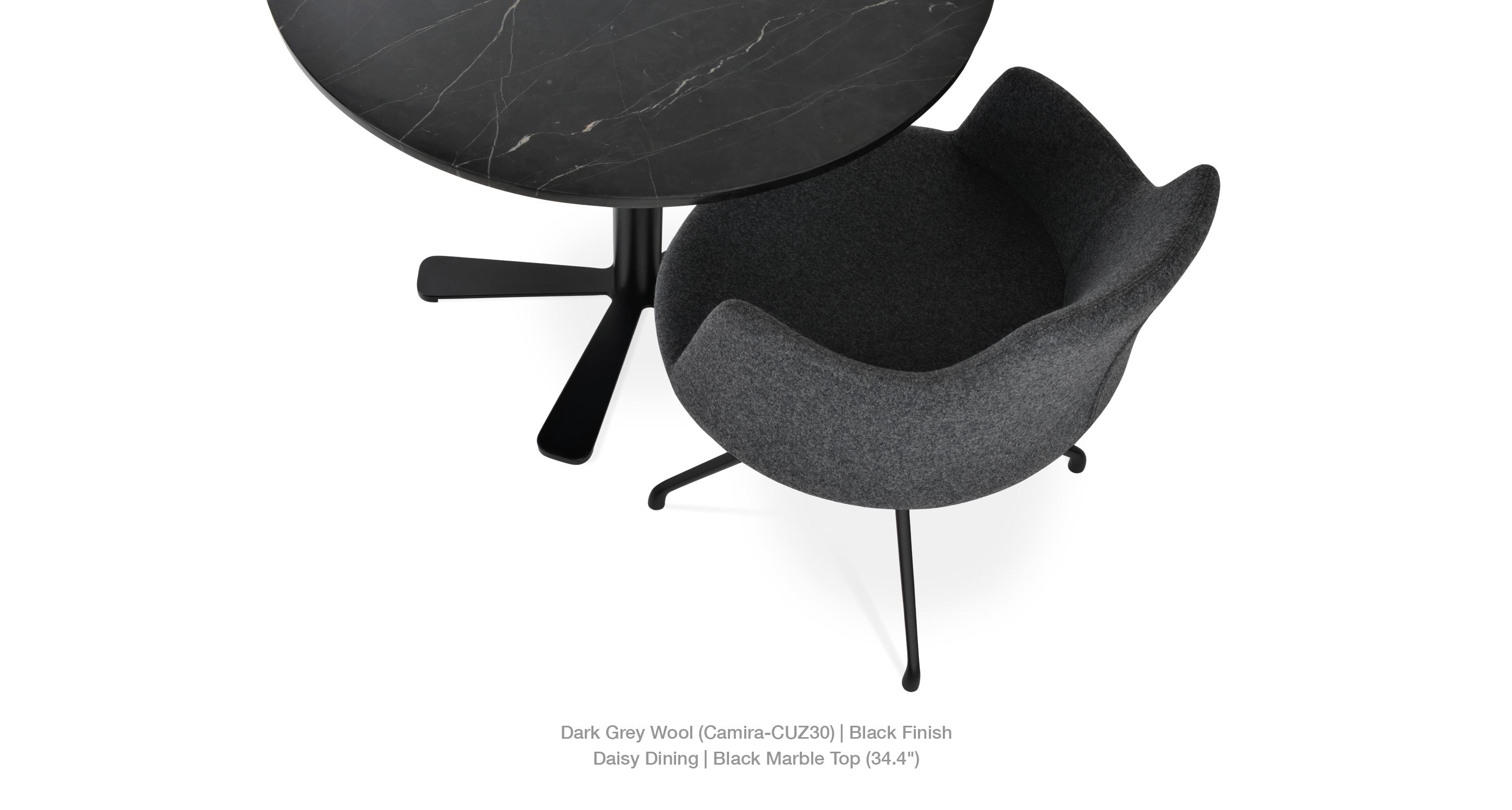 dark grey wool - daisy dining