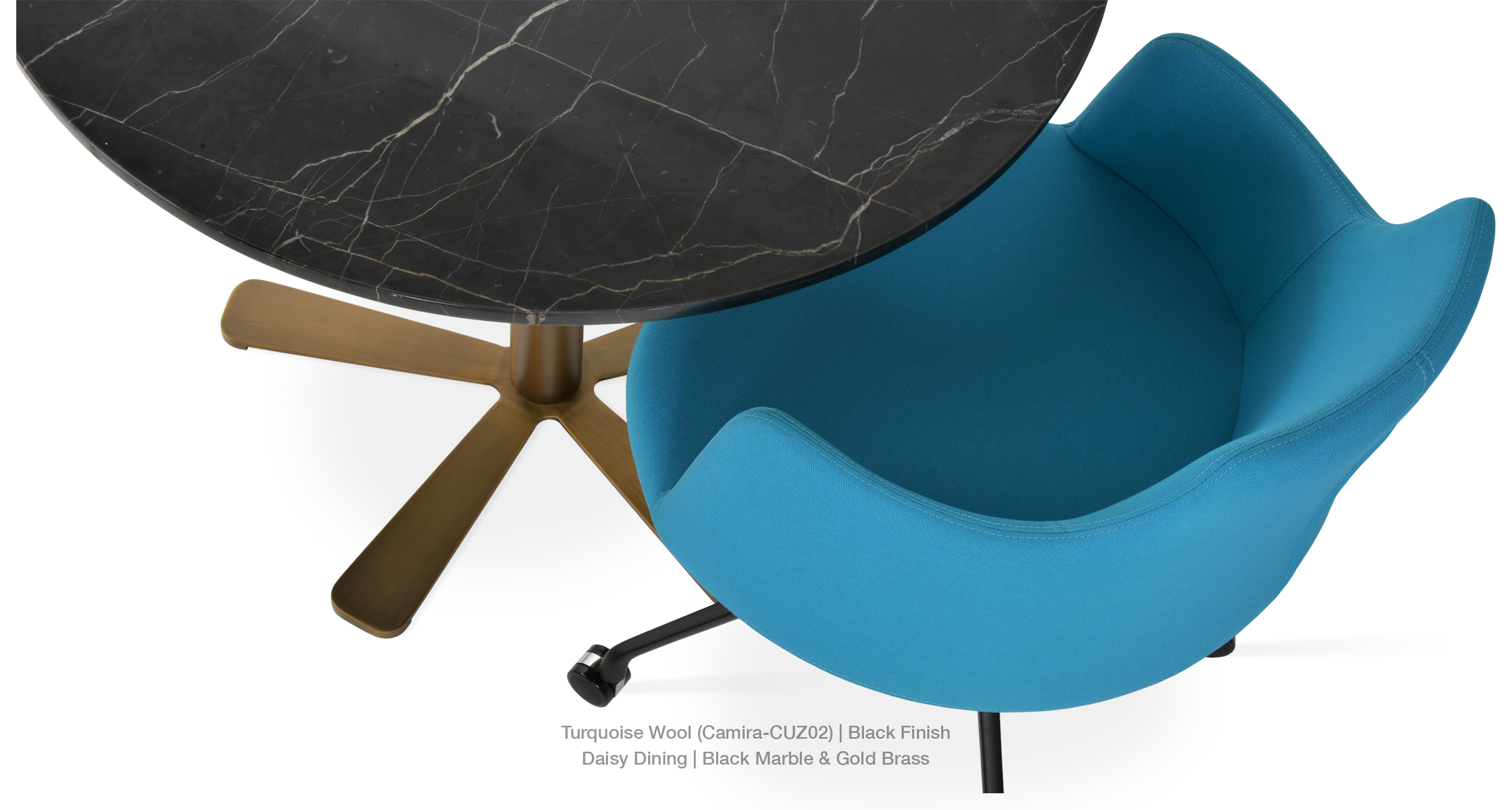 Turquoise camira - daisy dining