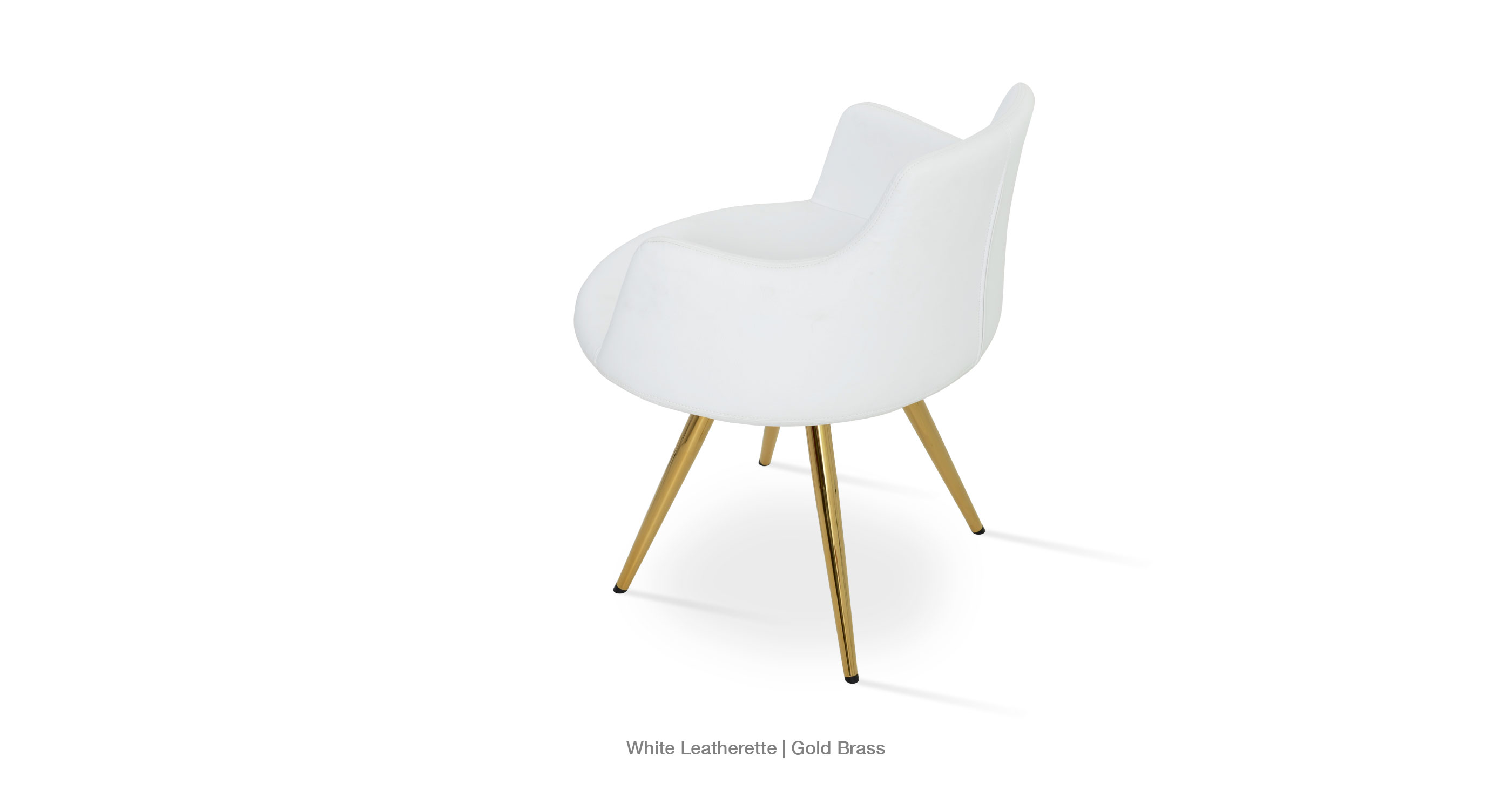 White Leatherette - Gold Brass