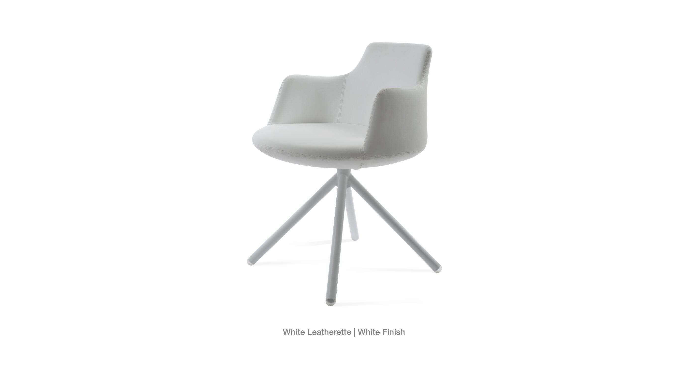 white leatherette - white finish