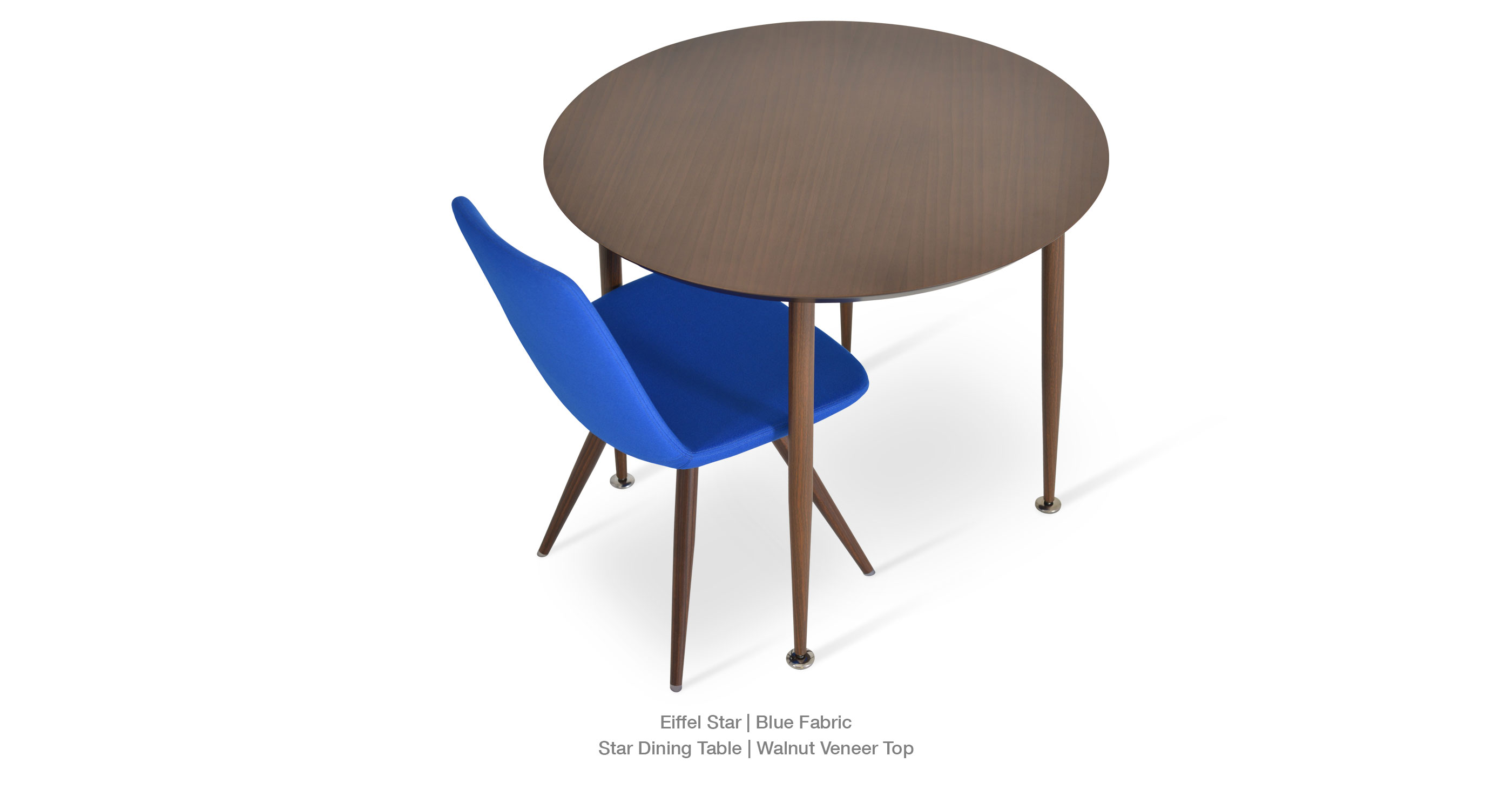 blue fabric star table