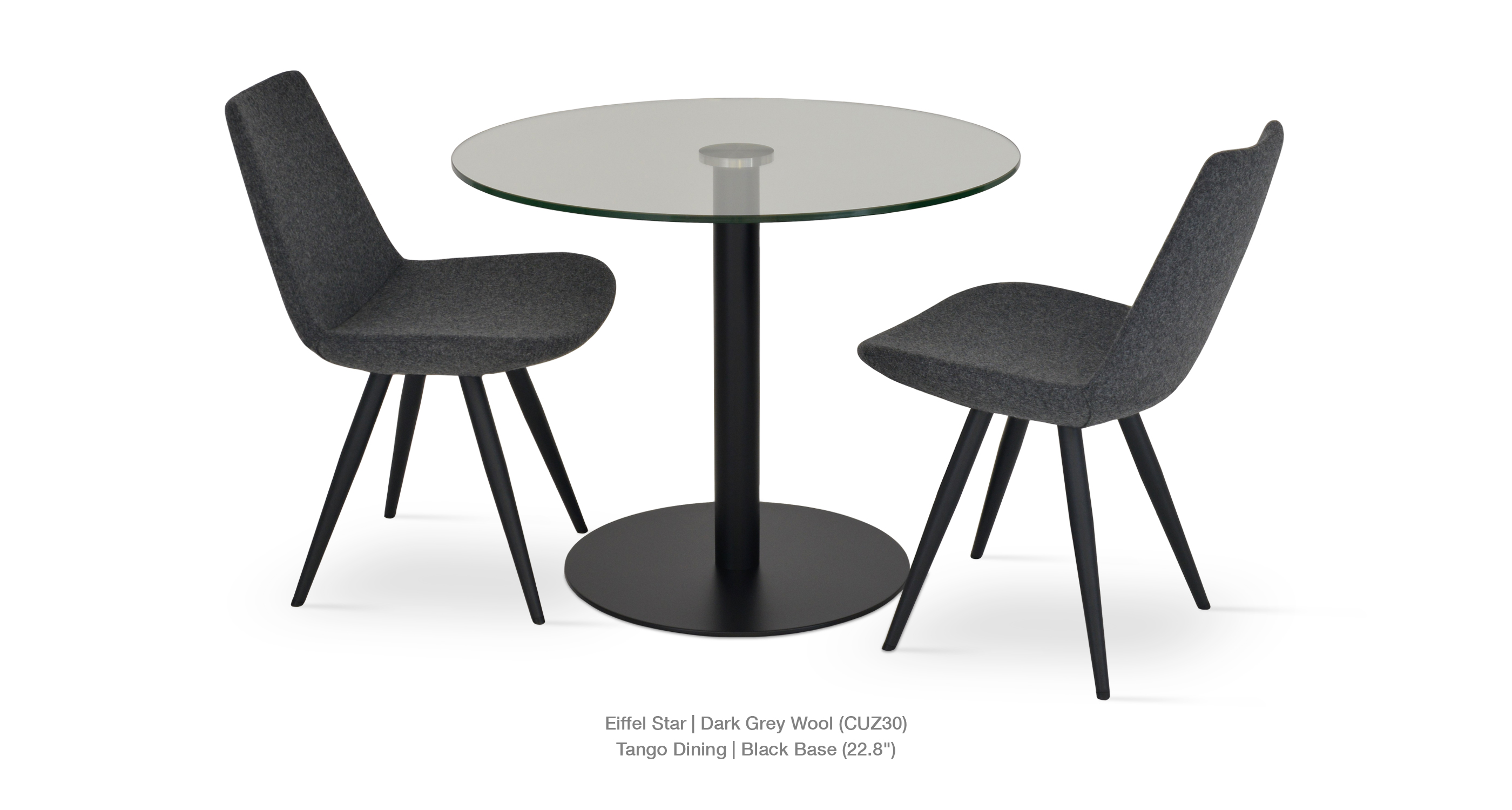 dark grey wool - tango dining black base