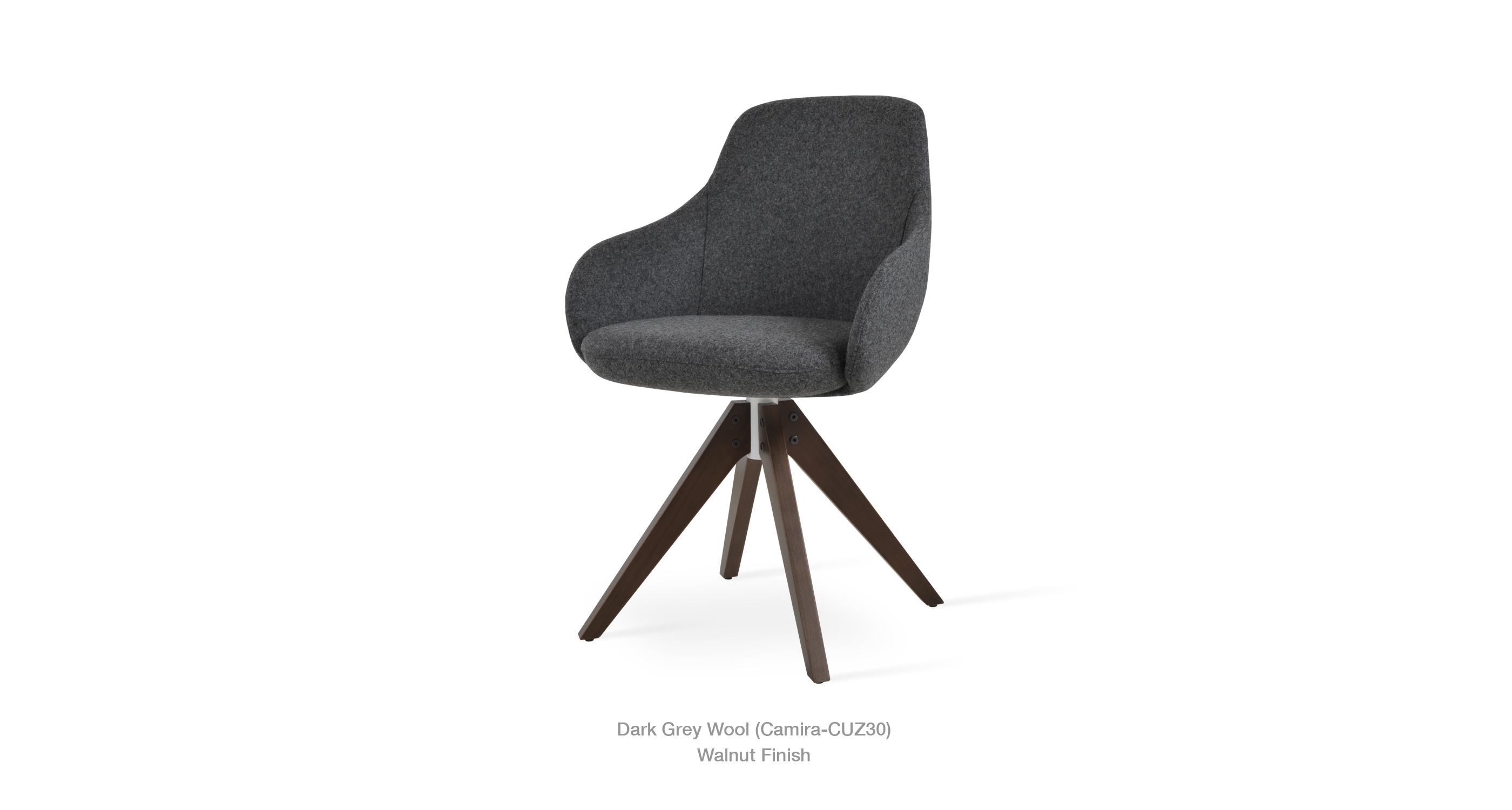 Gazel Arm Dark Grey Wool Walnut Finish