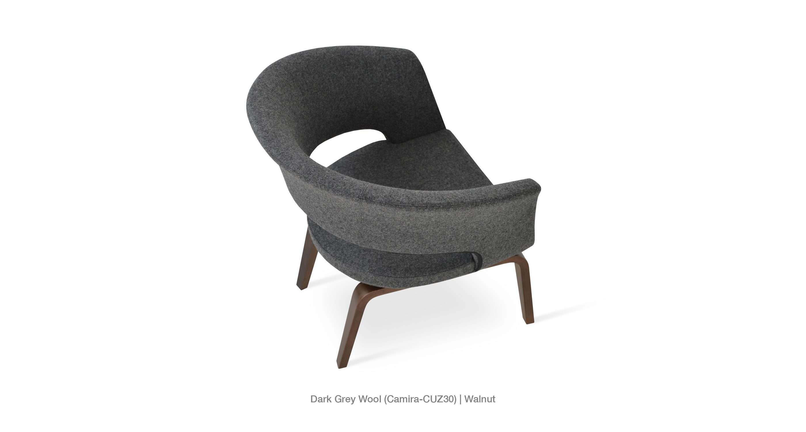 dark grey wool - walnut