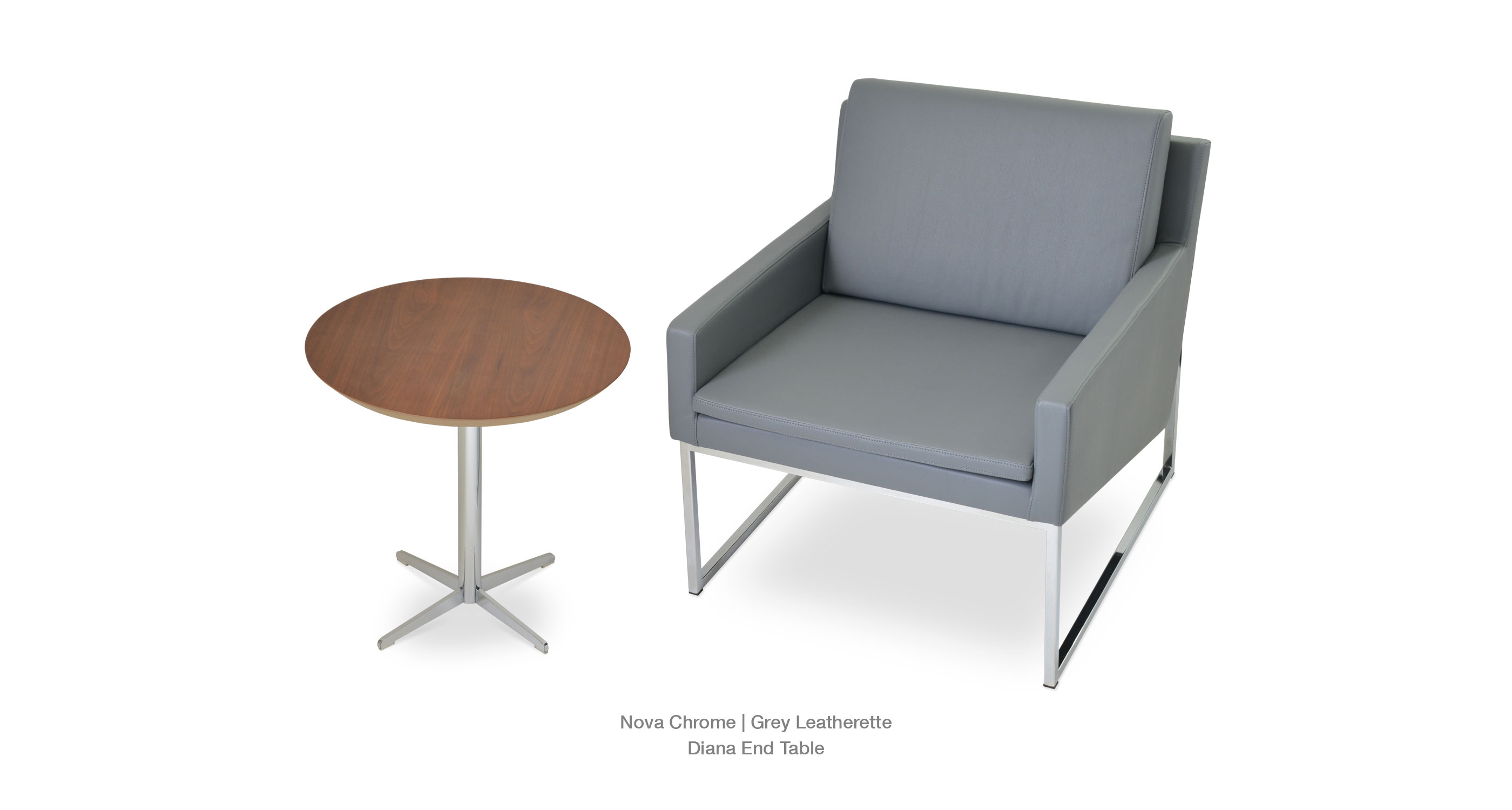Nova Chrome Grey Leatherette