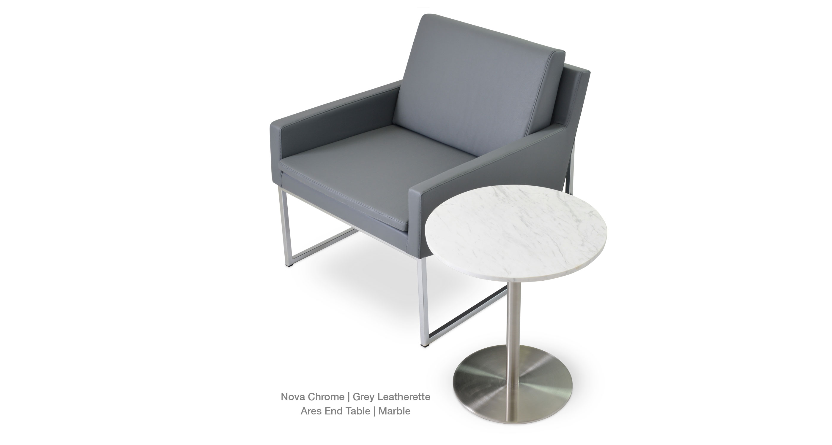Nova Chrome Grey Leatherette - Ares