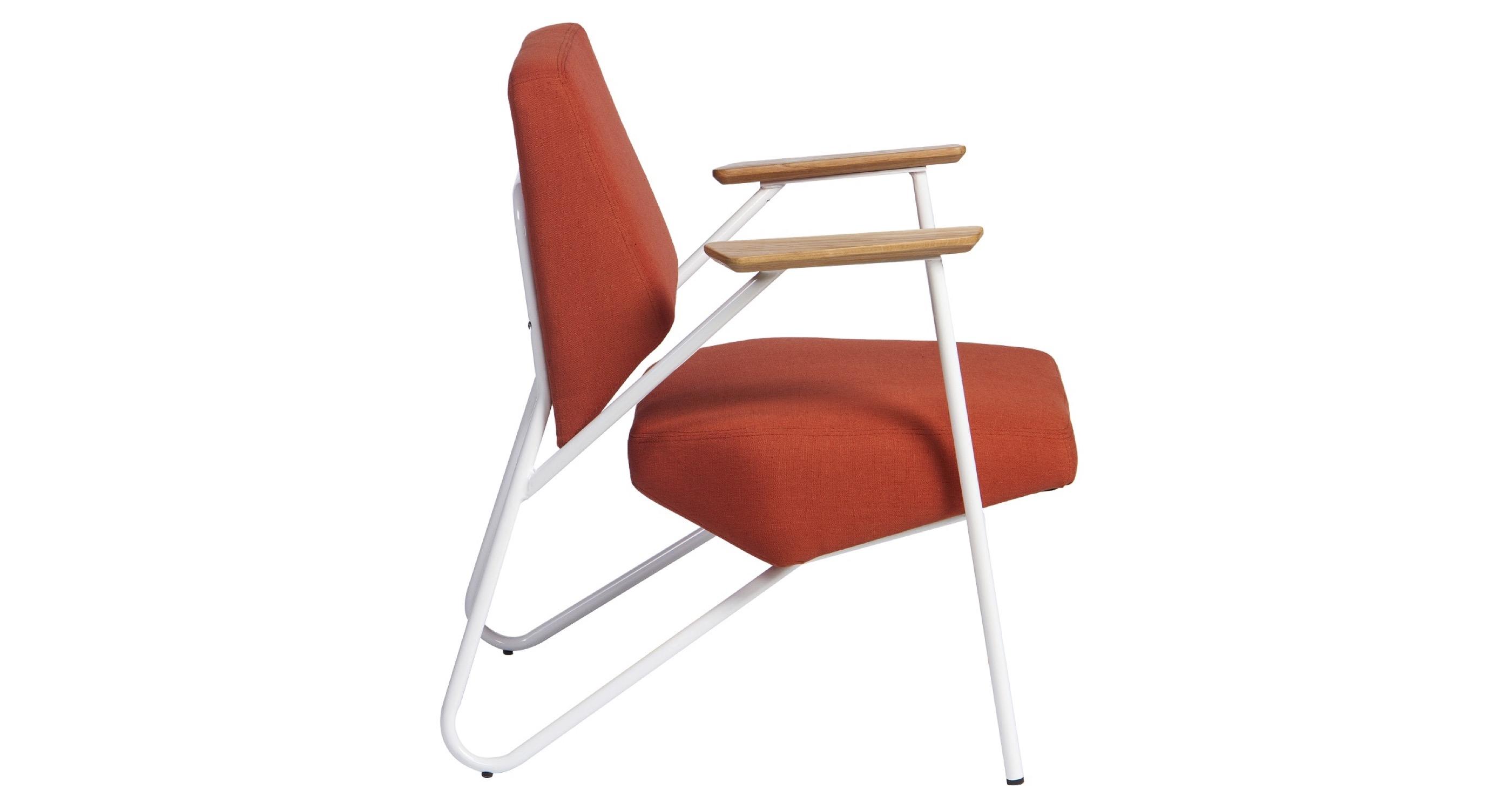 Pacific Lounge Arm Chair White Frame Ash Orange Fabric 3