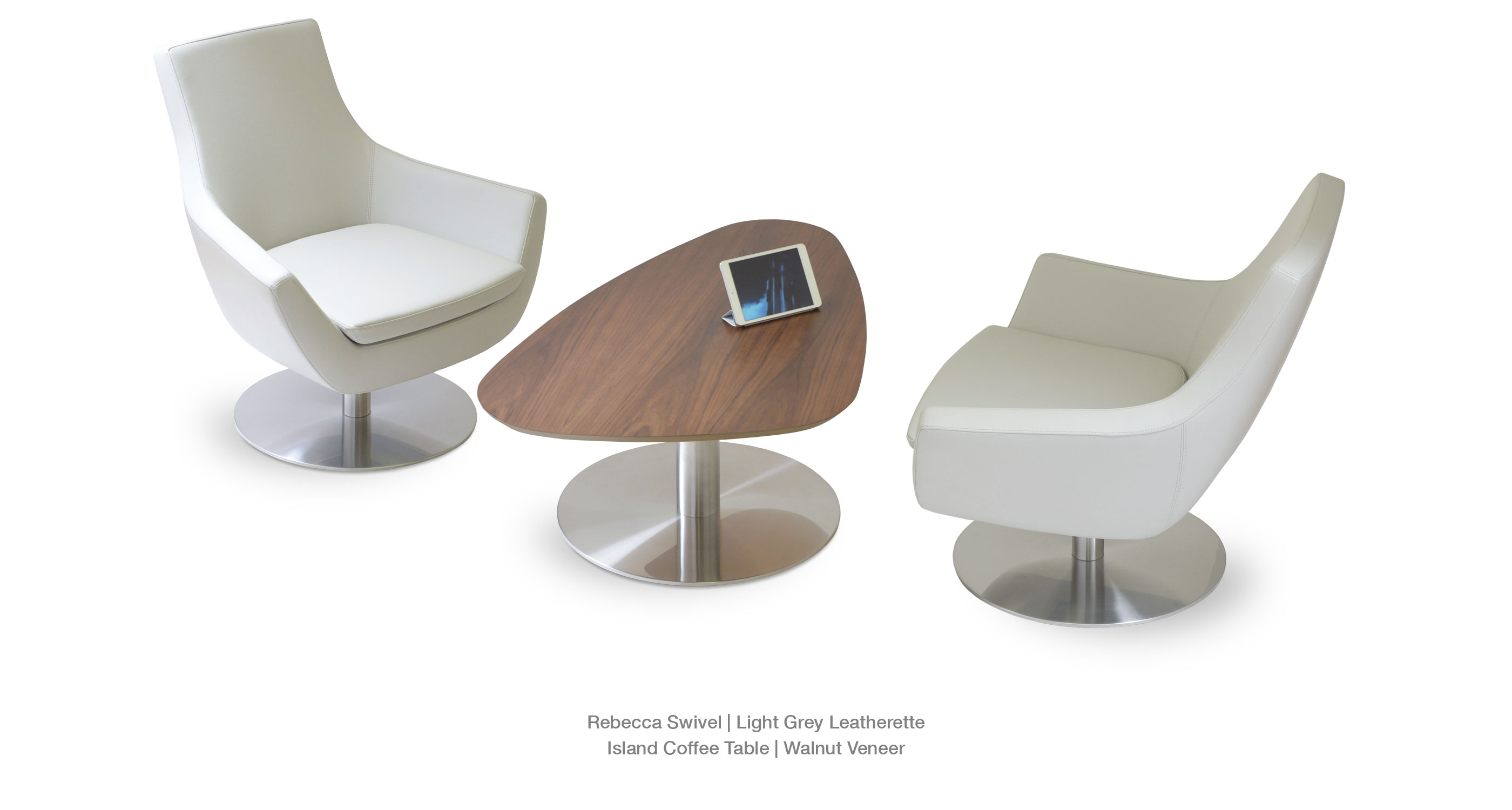 Rebecca Swivel light grey - Island Coffee