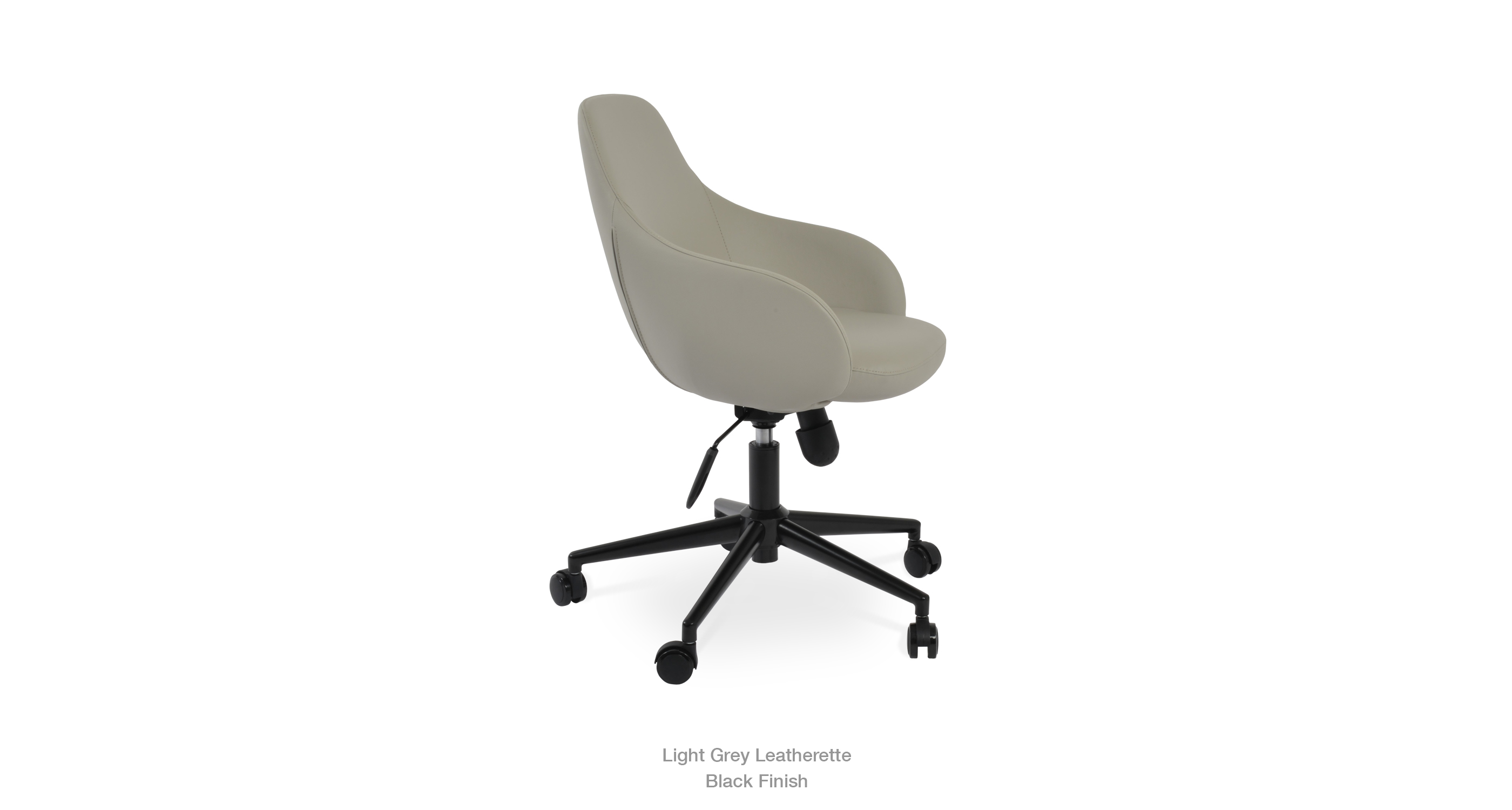 light grey leatherette - black finish