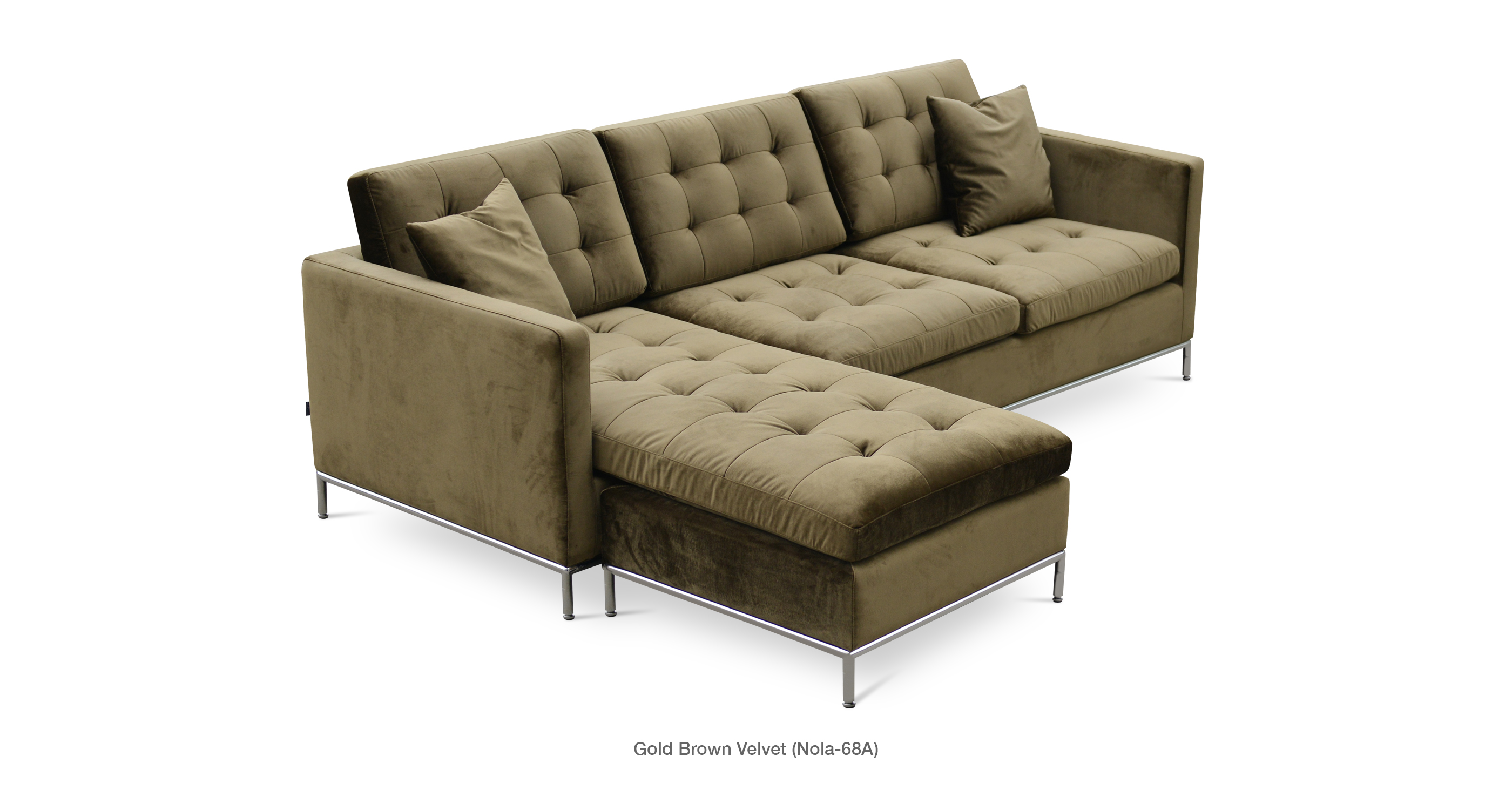 Taxim Sectional Gold Brown Velvet