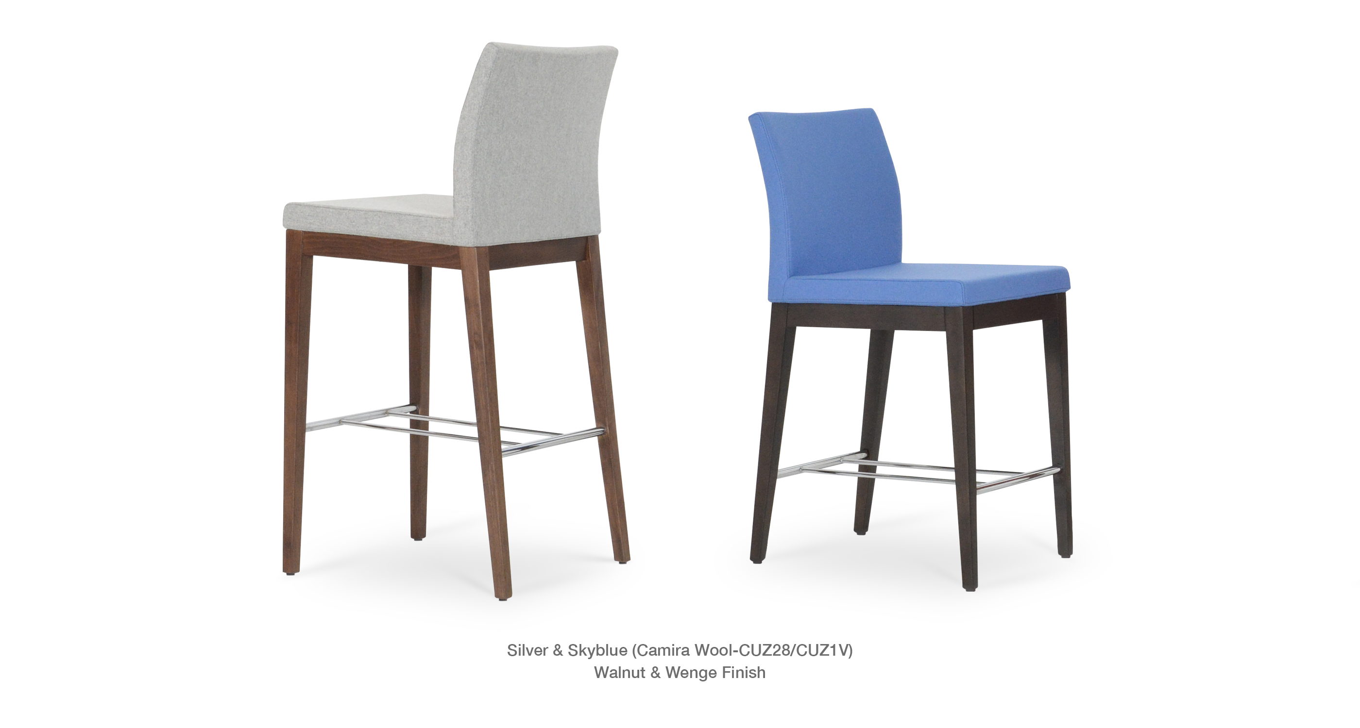 Aria Stools Wood   Silver And Skyblue