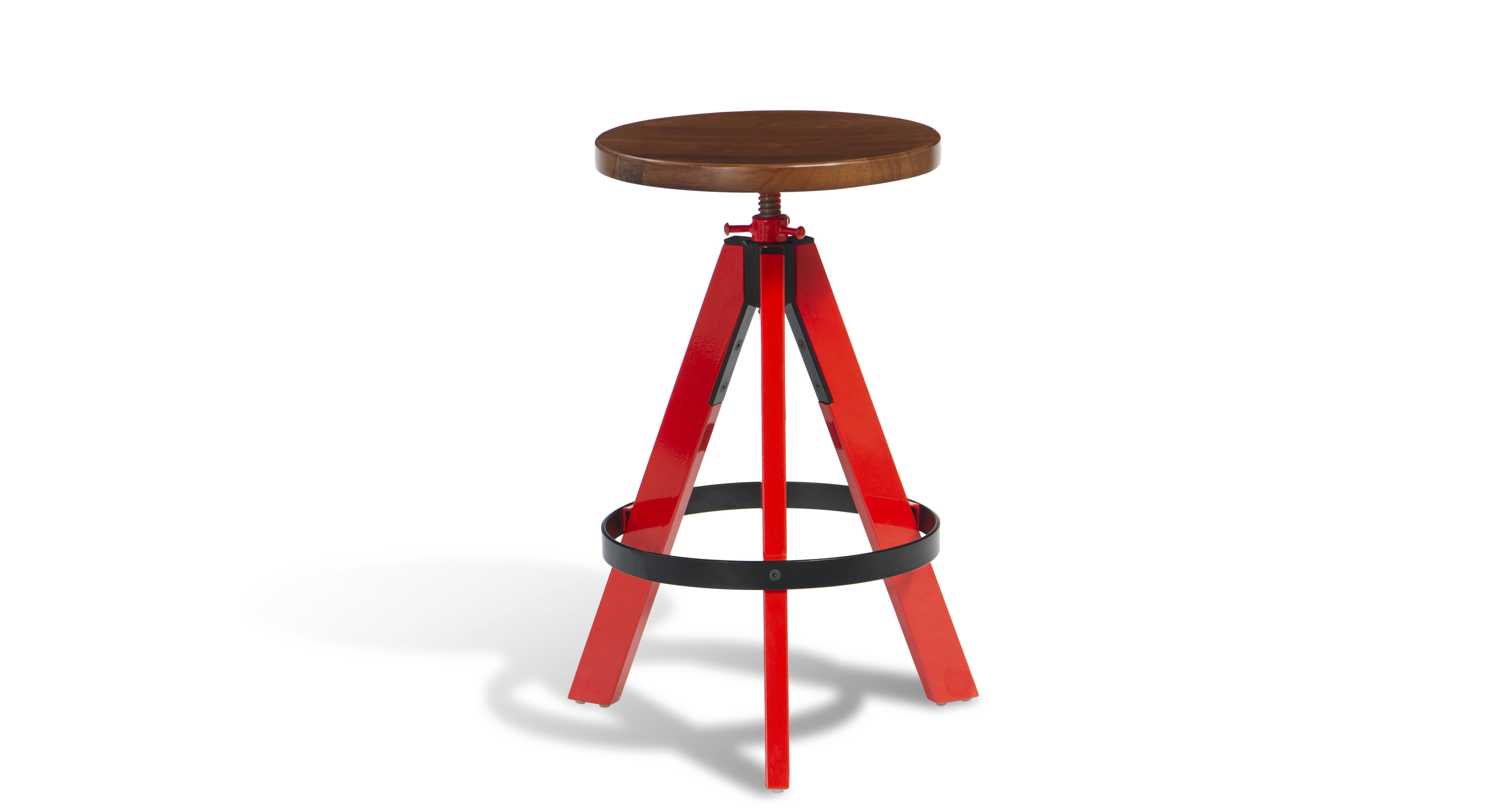 Colter Swivel Stools Red Frame Walnut Seat