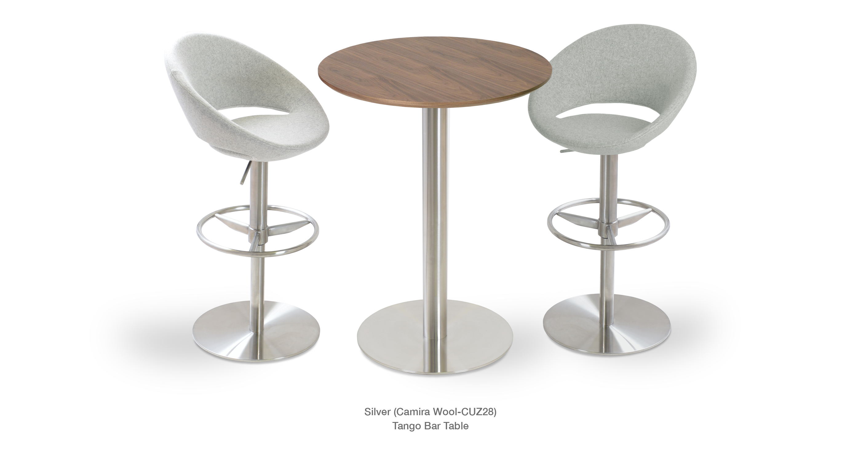 Crescent Piston Silver wool Tango Bar Table