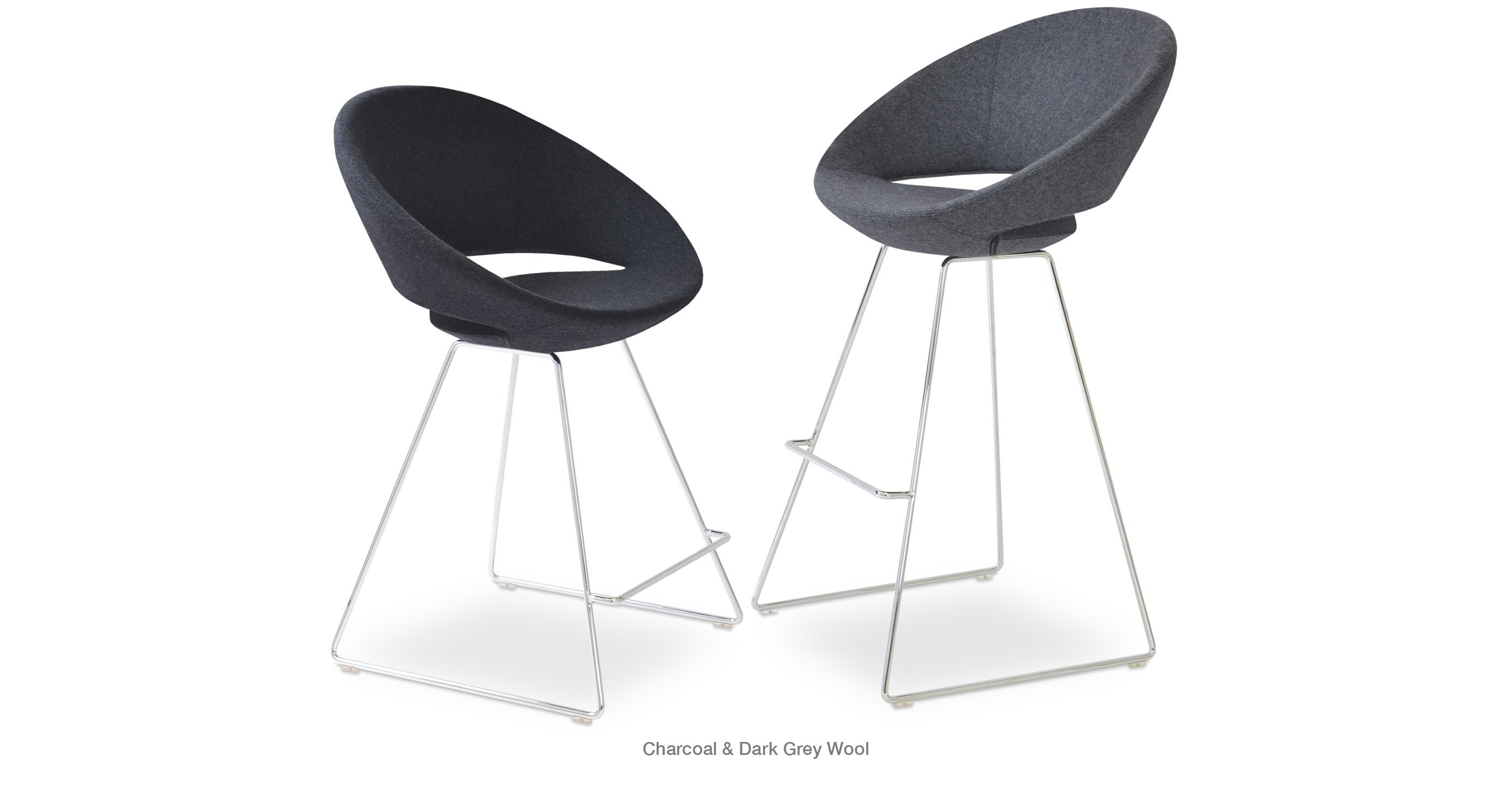 Crescent Wire Stool Charcoal Dark Grey