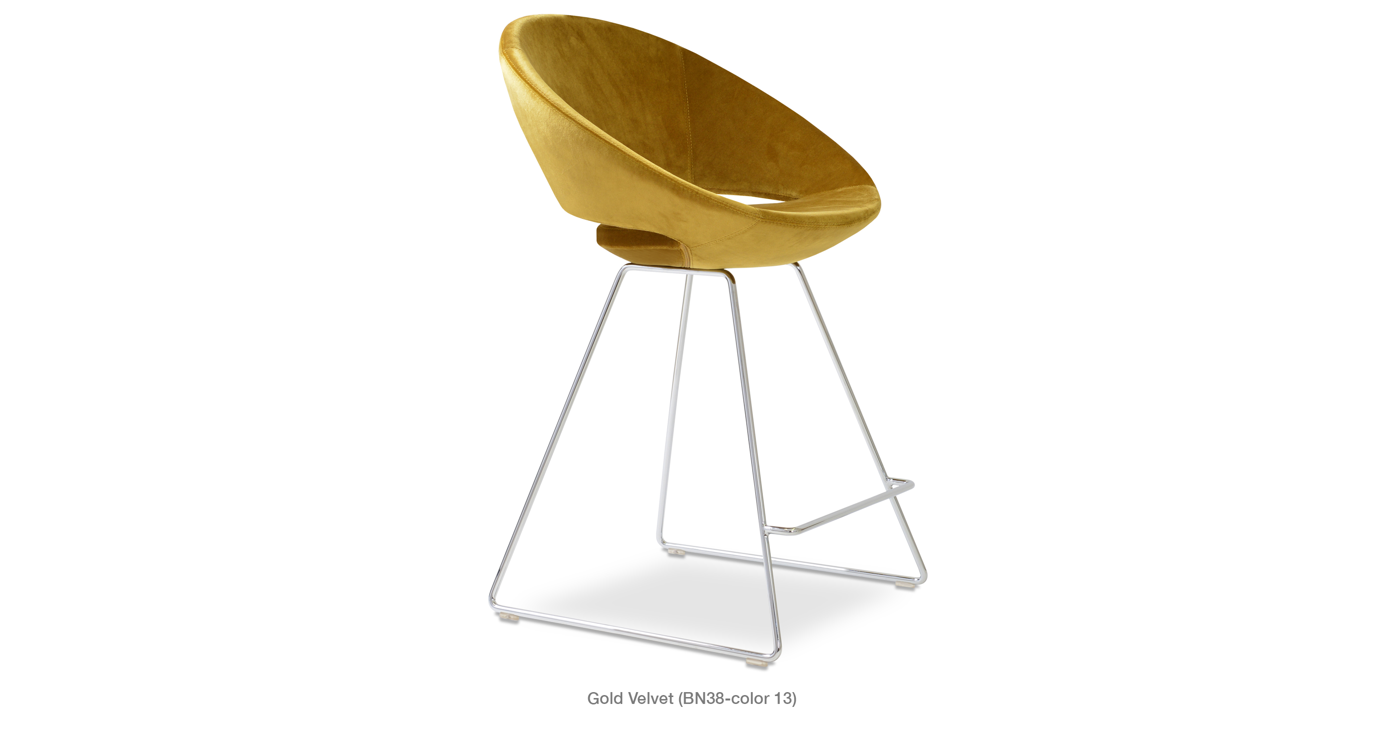 Crescent Wire Stool Gold Velvet