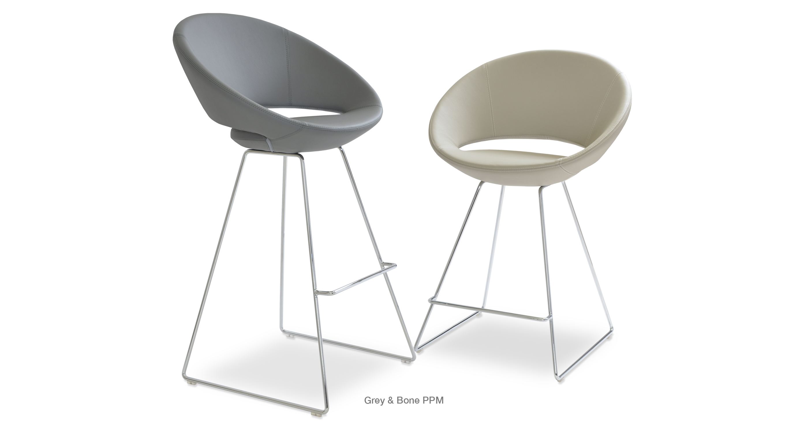 Crescent Wire Stool Grey Bone Ppm