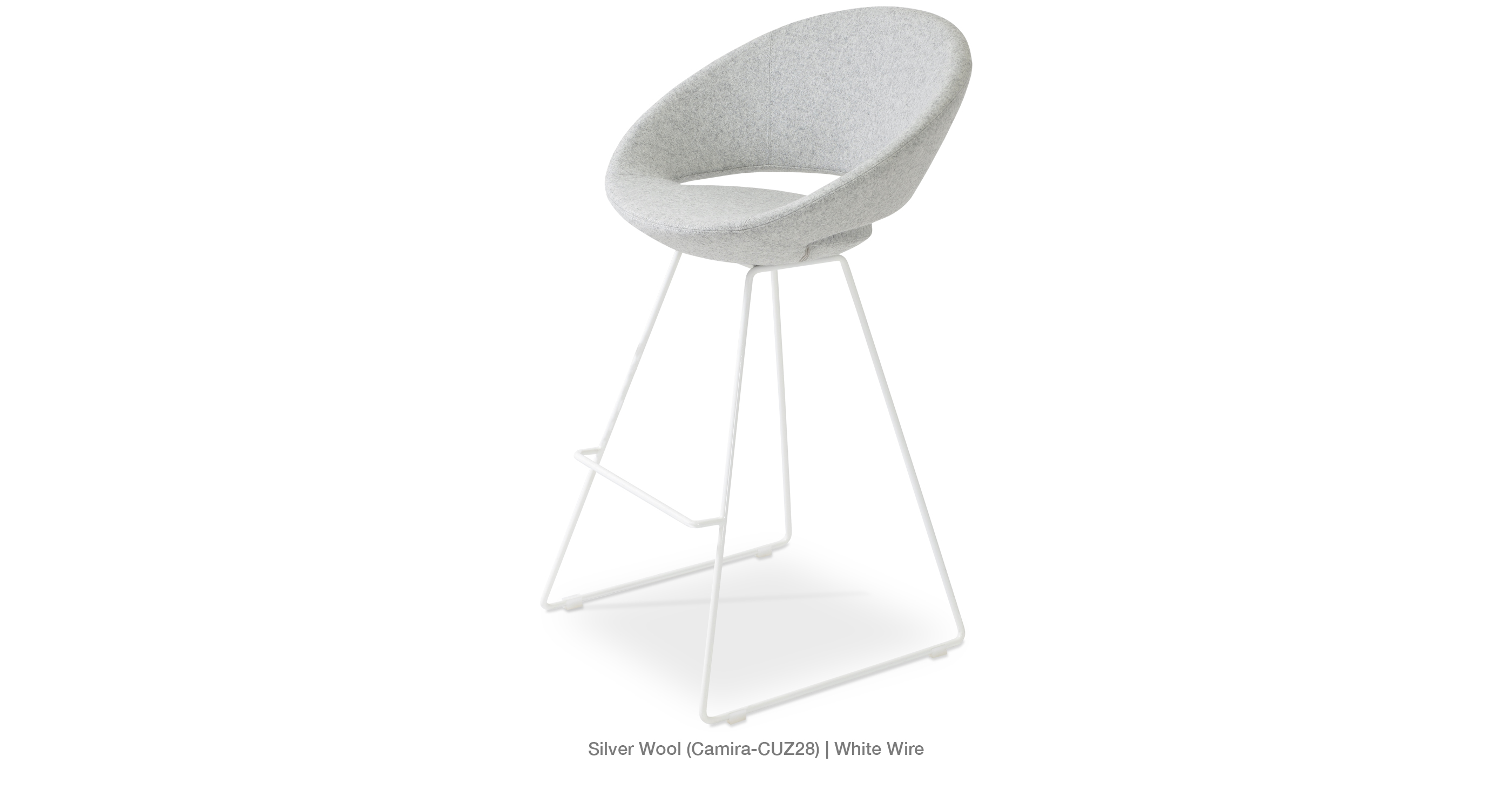 Crescent Wire Stool Silver