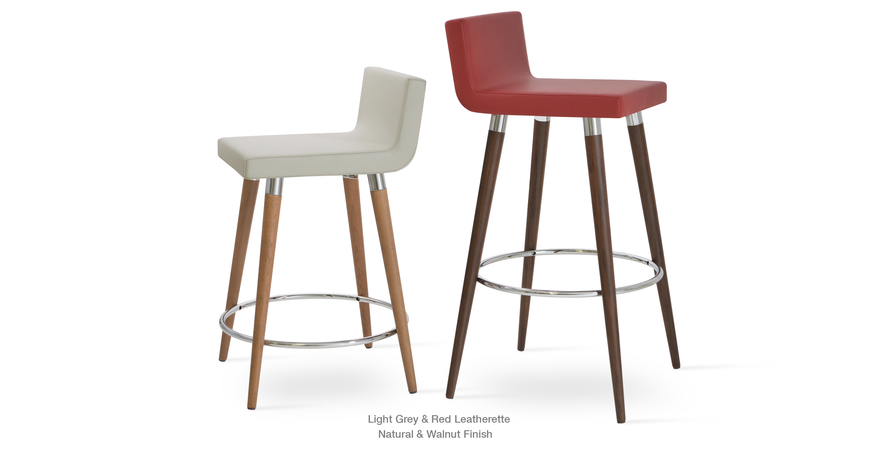 Modern Stool Light Grey And Red Leatherette