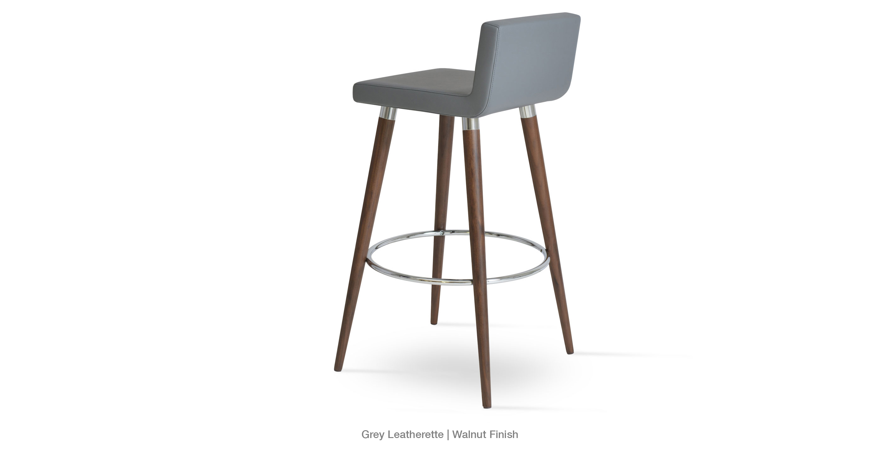 Modern Wood Stool Grey Leatherette