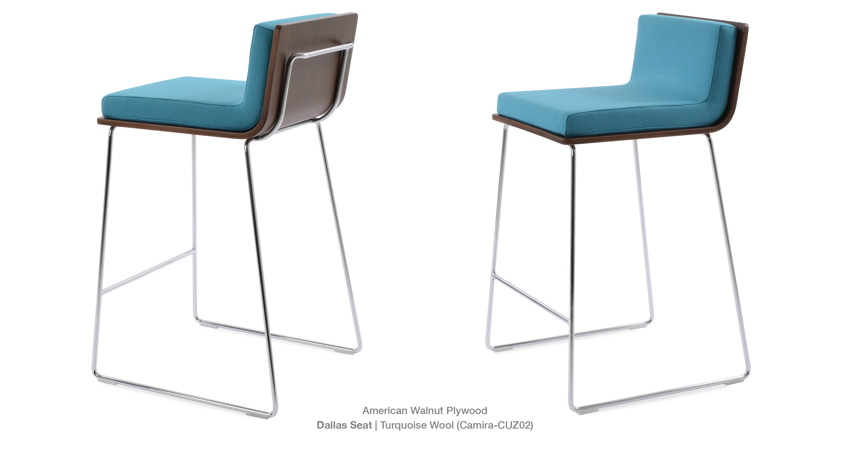 Dallas Pl Wire Stool Dallas Seat Turquoise Wool