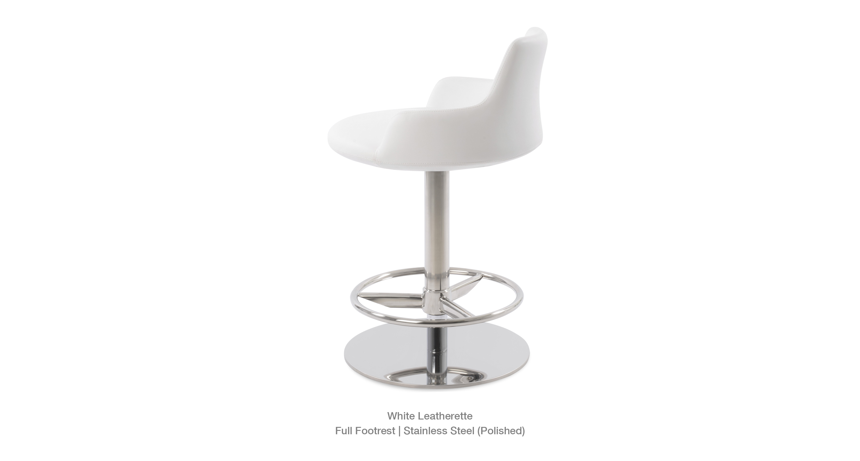 white leatherette - full footrest