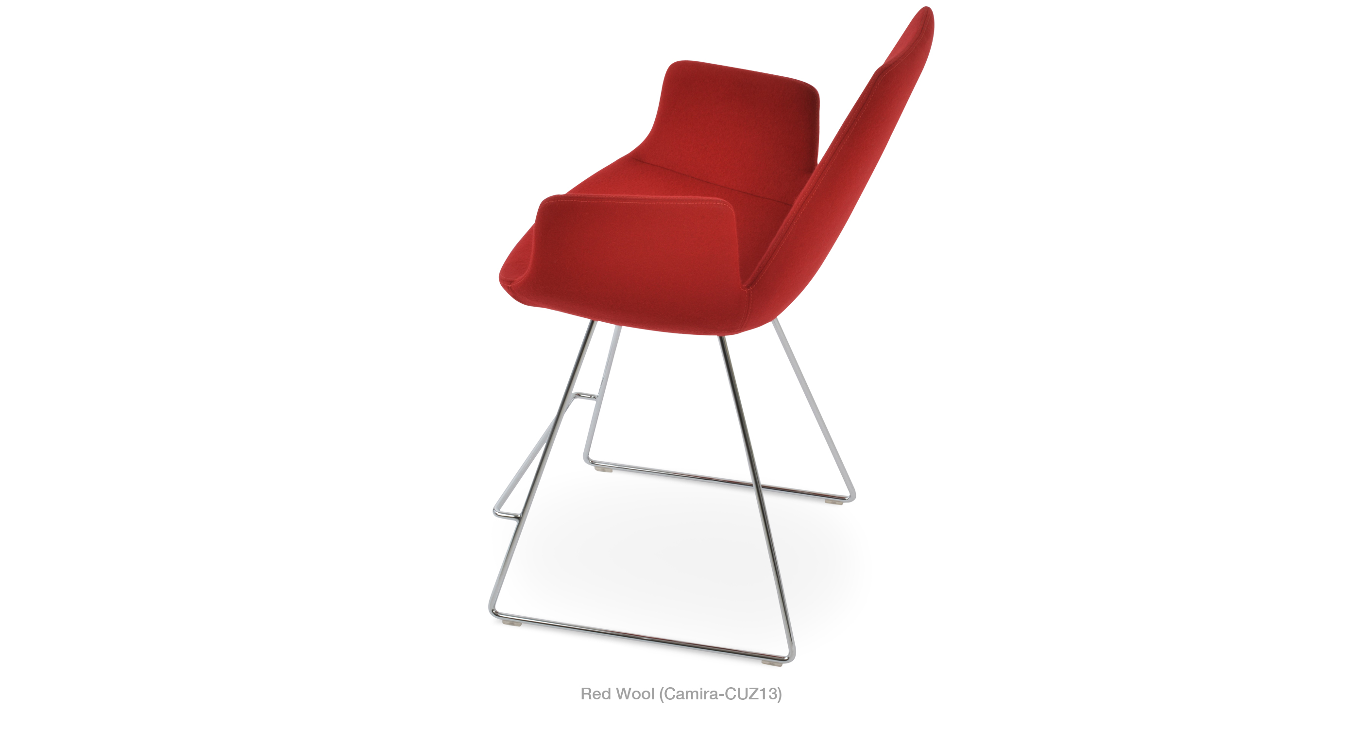 2020 03 05 Eiffel Arm Wire Stool Red Wool