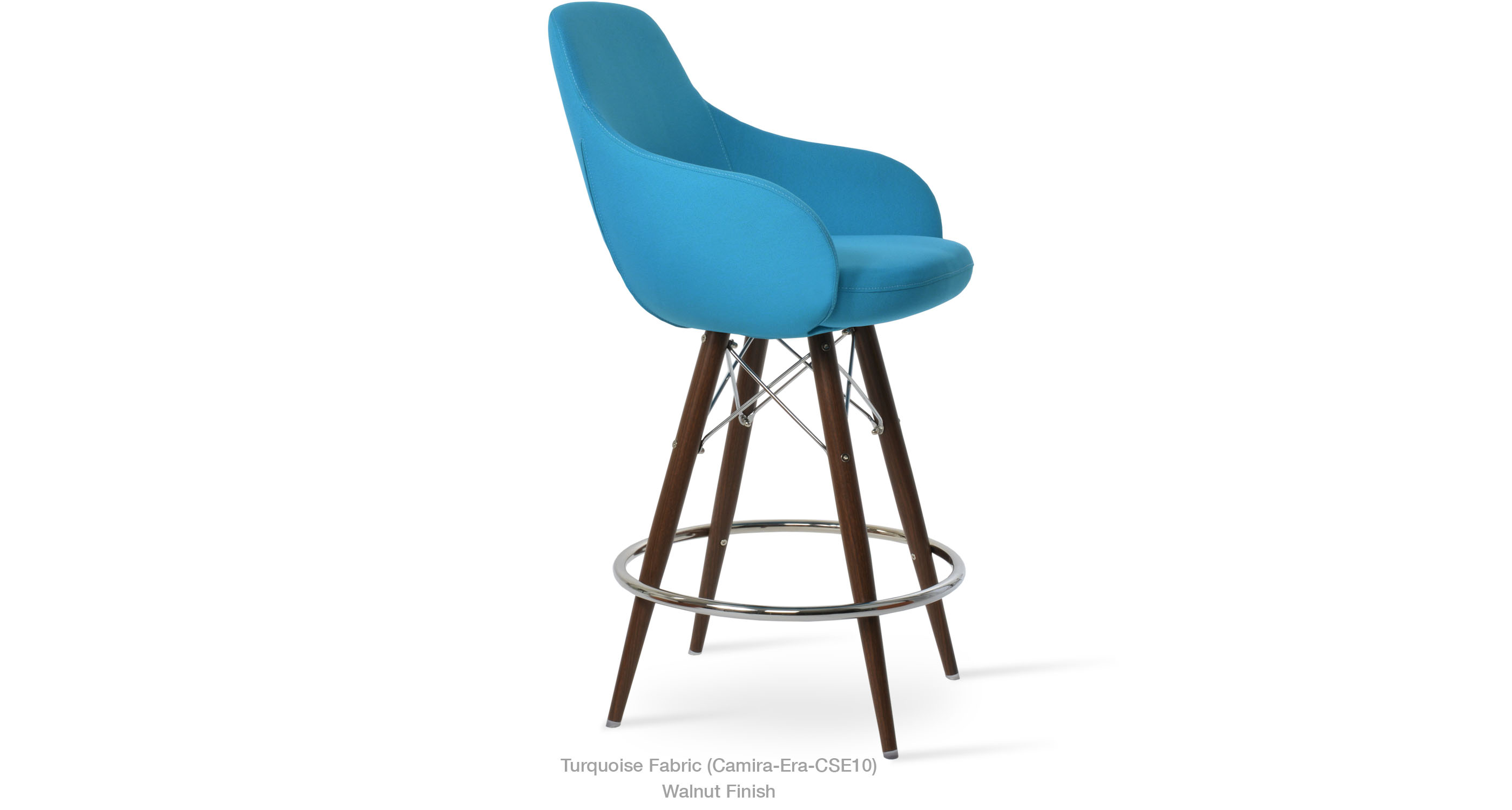 12 11 20 Gazel Arm Mw Stool Turquoise Fabric Walnut