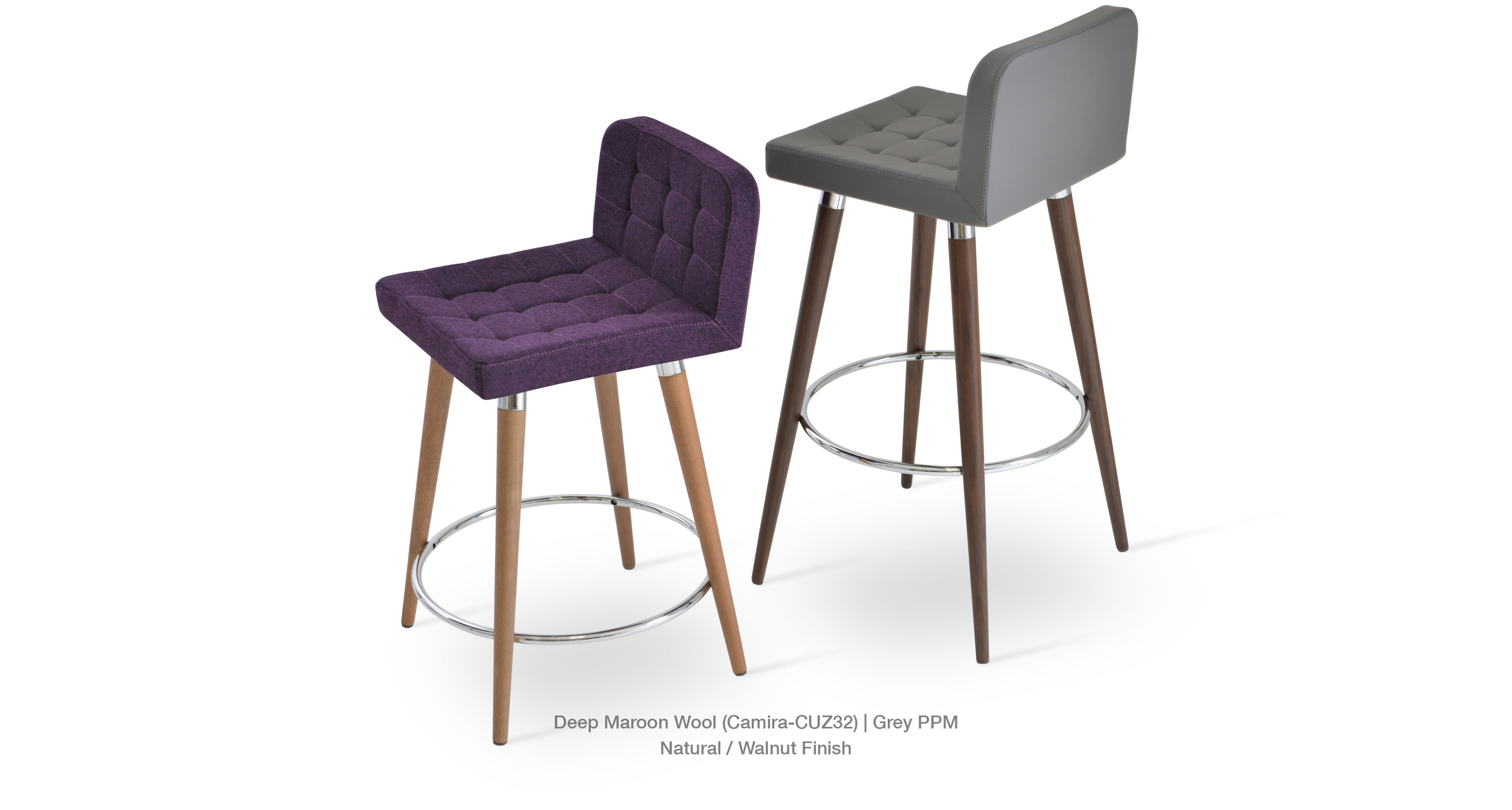 Lara Stool Wood Deep Maroon Grey Ppm