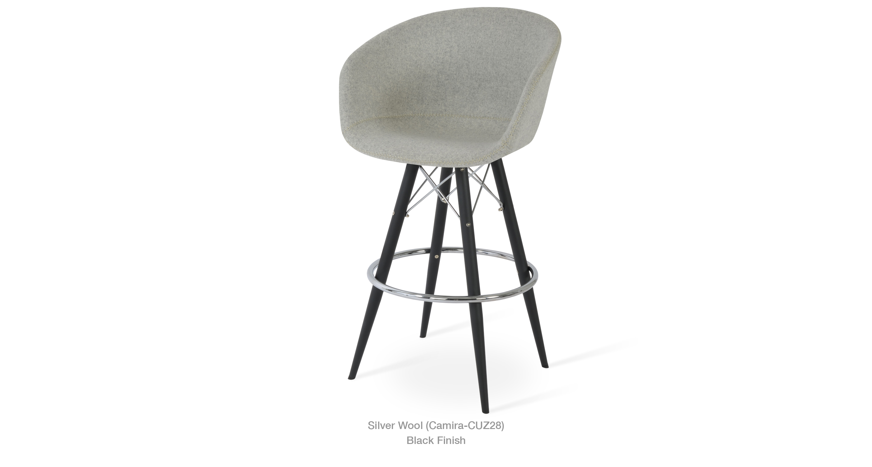 Tribeca Mw Stool Silver Wool