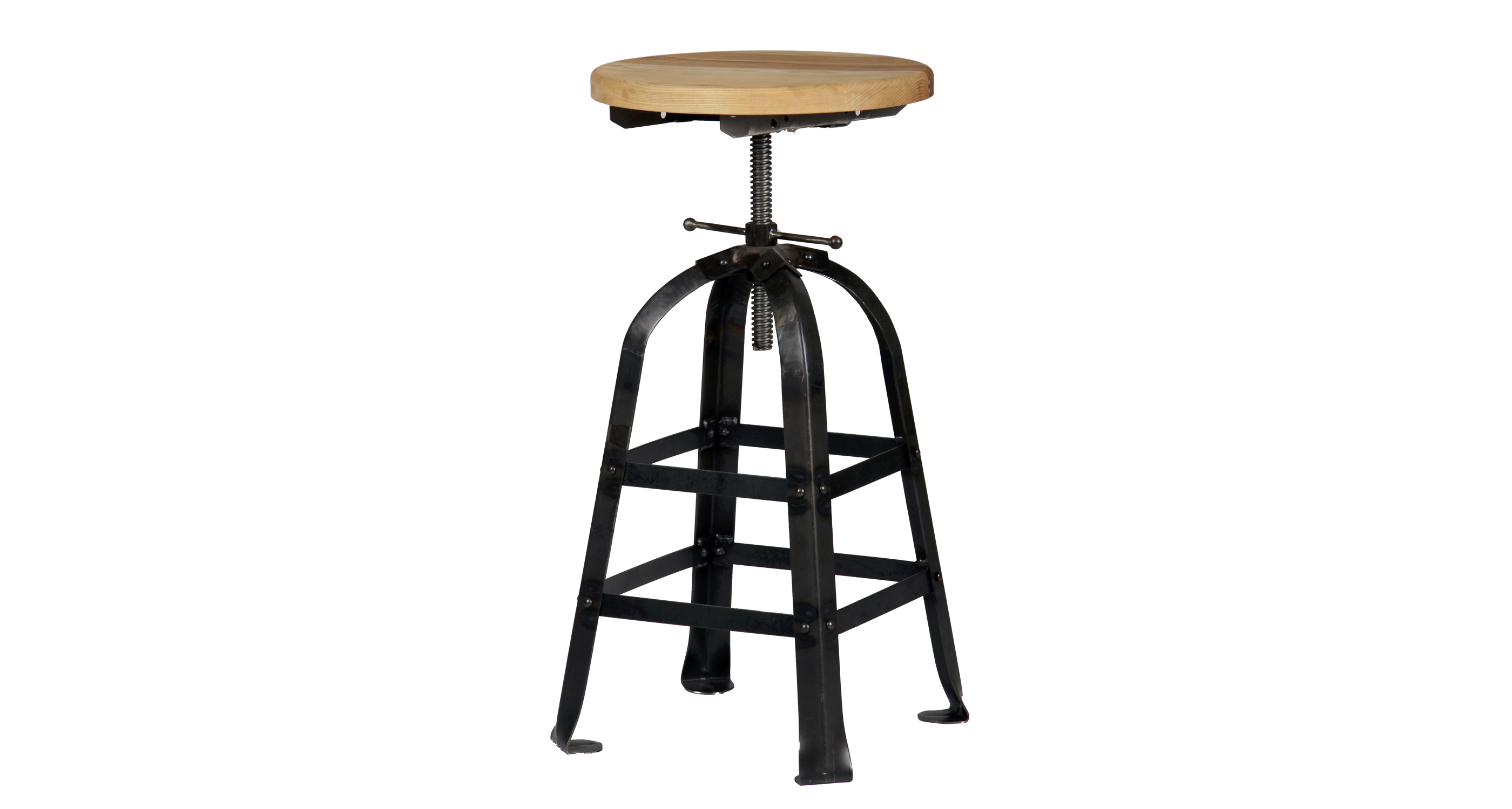 Zilio Swivel Stool Black Frame Ash Seat